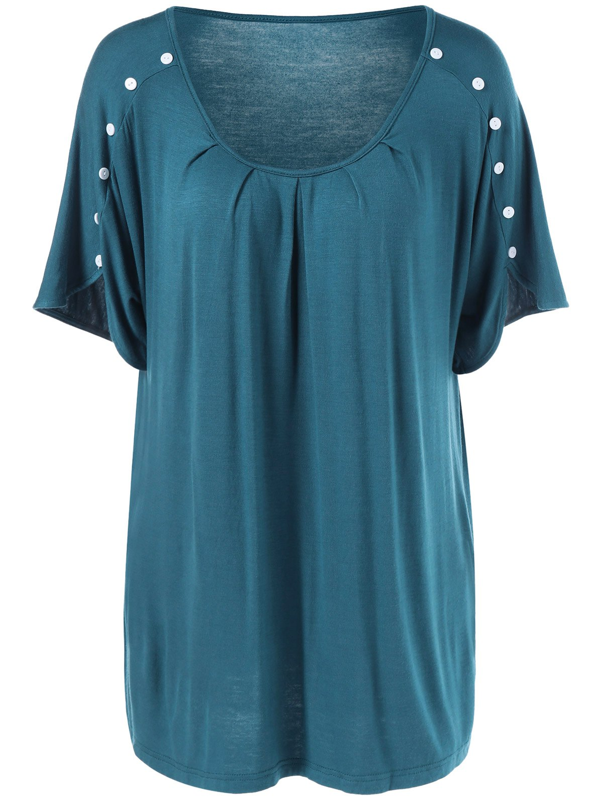 Plus Size Button Detailed Wrinkle T-Shirt - BLUE GREEN XL