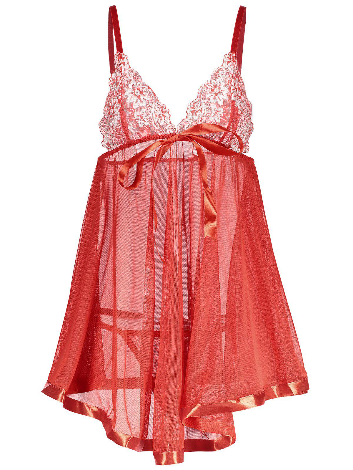 Lace Insert Cami See Thru Babydoll lace up see thru babydoll dress