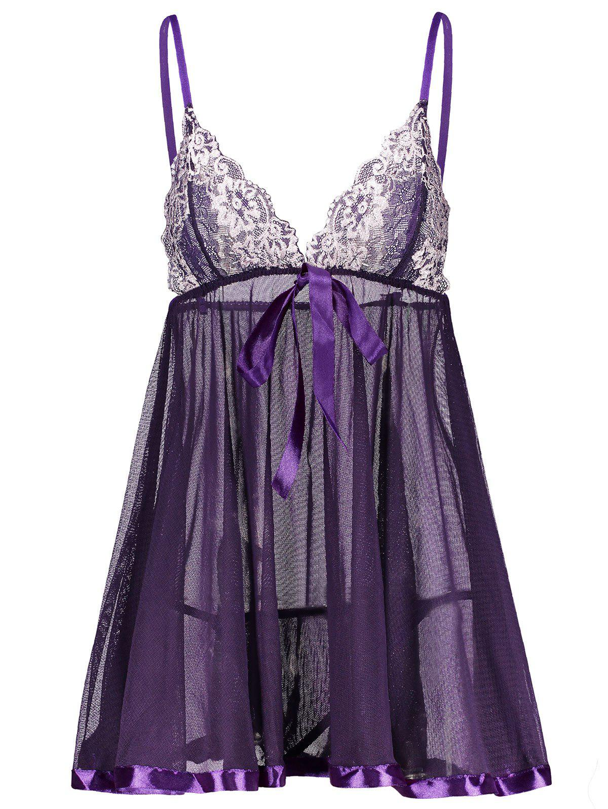 Lace Insert Cami See Thru Babydoll - CONCORD XL