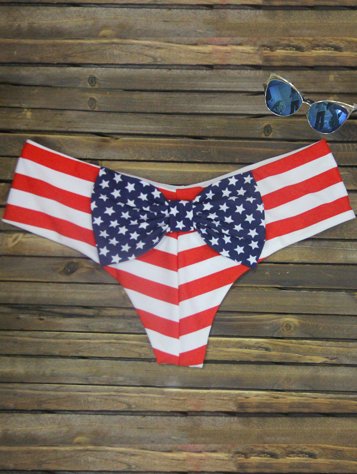 Bowknot Print Swim Briefs - STRIPE PATTERN RED COLOR L