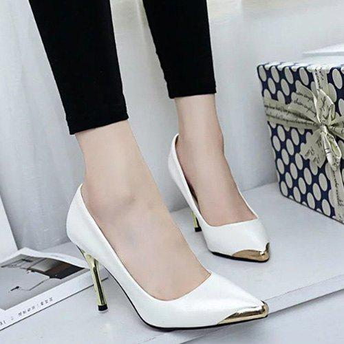Faux Leather Metal Toe Pumps - WHITE 37
