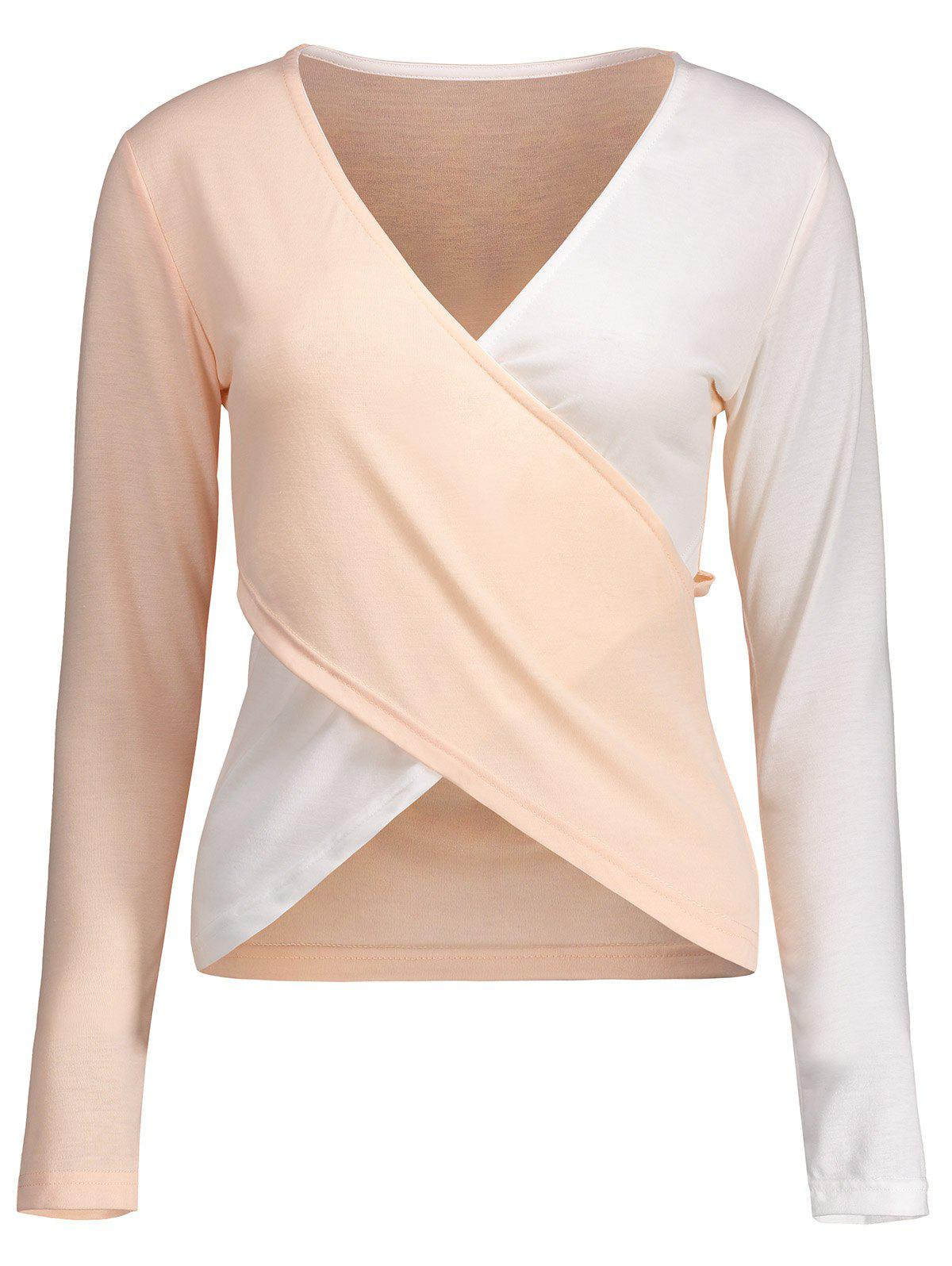 Contraste Cross Plongeant Neck Tee - Rose Pâle M