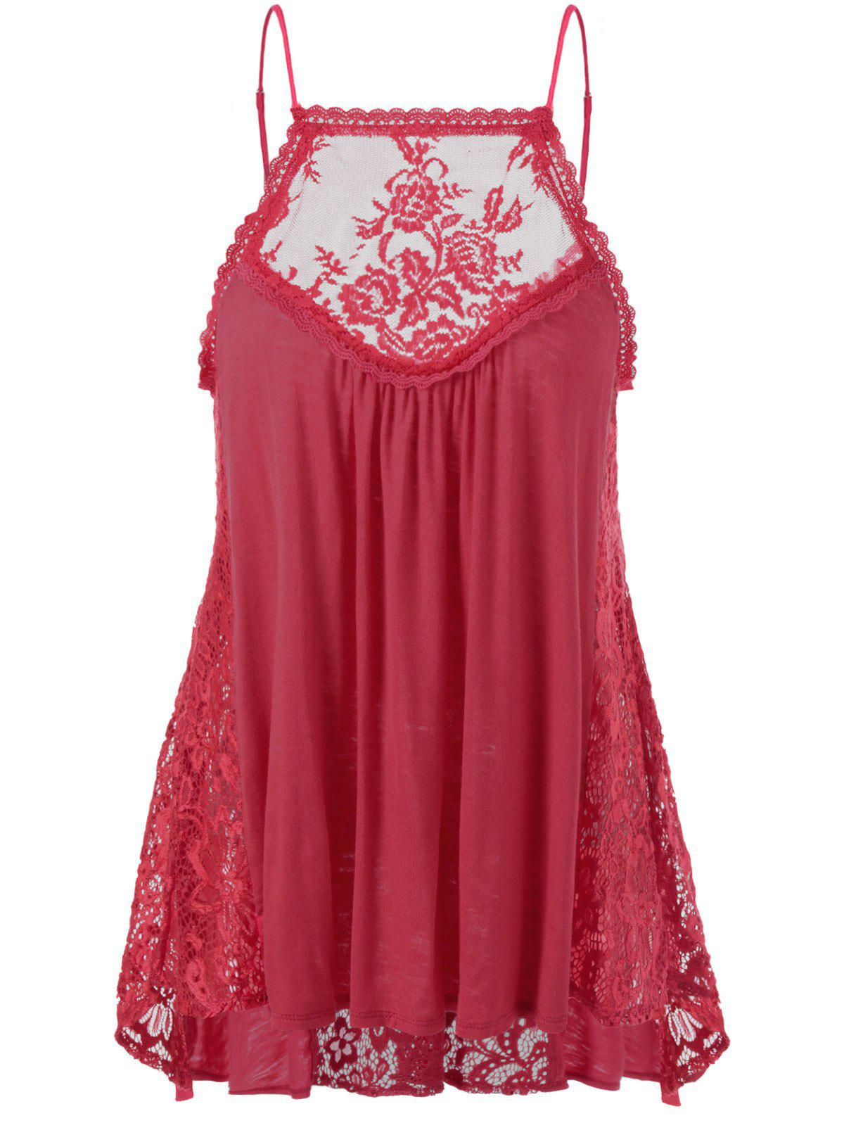 Lace Trim Smock Tank Top - RED XL