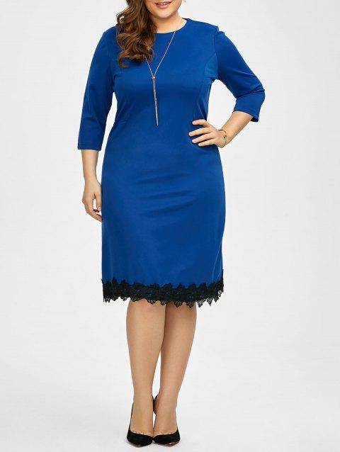 Plus Size Lace Trim Knee Length Work Dress - ROYAL 6XL
