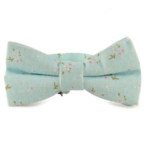 6402700cfa00 41% OFF  2019 Tiny Floral Cotton and Linen Bow Tie In LIGHT BLUE ...