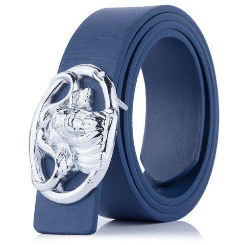 Engraved Buckle Hollow Out Faux Leather Belt - CERULEAN