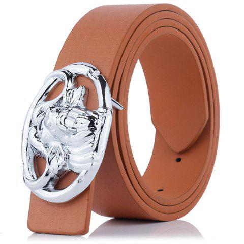 Engraved Buckle Hollow Out Faux Leather Belt - BROWN