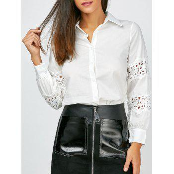 Lace Panel Button Up Shirt
