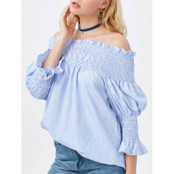 Smocked Striped Off The Shoulder Blouse