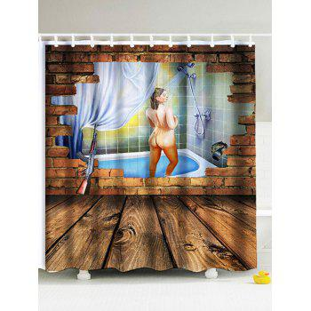 3D Shower Woman Water Resistant Fabric Shower Curtain