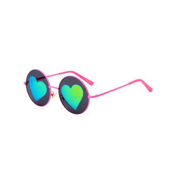 Round Sunglasses with Mirrored Heart