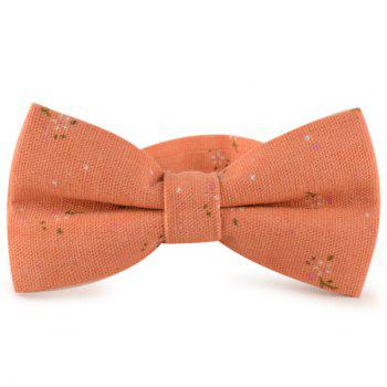 Tiny Floral Cotton and Linen Bow Tie - ORANGE RED ORANGE RED
