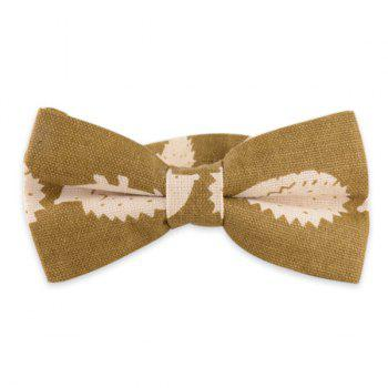 Cartoon Hedgehog Print Cotton and Linen Bow Tie