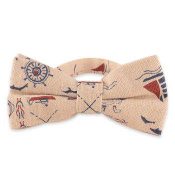 Nautical Pattern Cotton and Linen Bow Tie