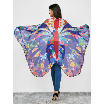 Colorful Flower Butterfly Wing Chiffon Pashmina with Straps