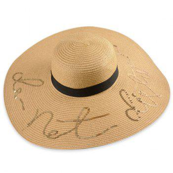 Ribbon Wide Brim Sequins Letters Straw Hat