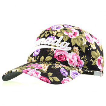 Rose Print Letter Embroidered Baseball Cap