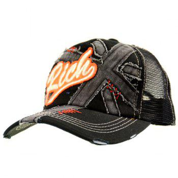 Mesh Spliced Frayed Character Baseball Hat