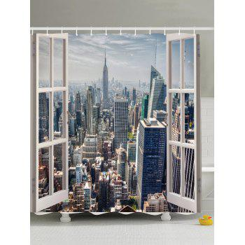 Curtains Ideas cityscape shower curtain : Window Scenery Fabric Shower Curtain For Bathroom, BLACKISH GREEN ...