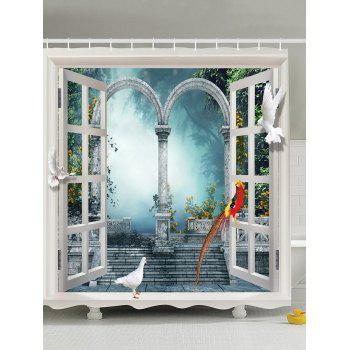 Window Scenery Fabric Shower Curtain For Bathroom
