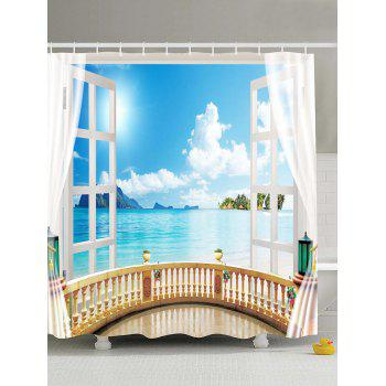 Window Seascape Design Shower Curtain with Hooks