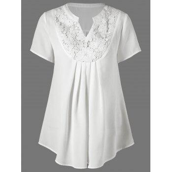 Lace Insert Split-Neck Blouse