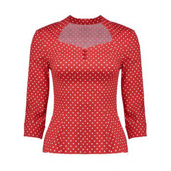 Sweetheart Neck Polka Dot Retro Blouse