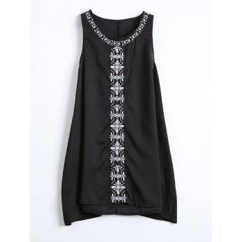 Embroidered Chiffon Long Tank Top