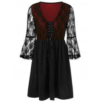 Flare Sleeve Lace Panel Top