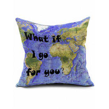 World Map Printing Short Plush Square Pillow Case