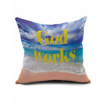 Beach Print Soft Plush Square Pillow Case