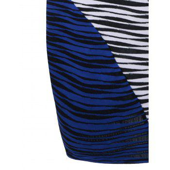 Plus Size Striped Knee Length Tight Dress - BLUE/WHITE BLUE/WHITE