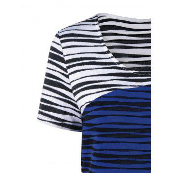 Plus Size Striped Knee Length Tight Dress - BLUE/WHITE 2XL