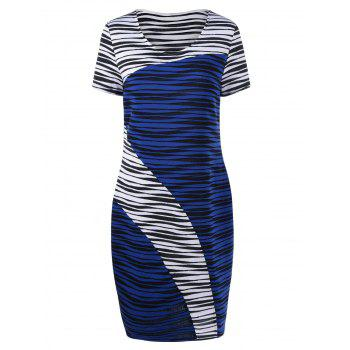 Plus Size Striped Knee Length Tight Dress - BLUE AND WHITE BLUE/WHITE