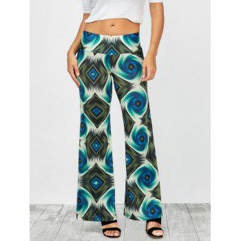 Elastic Waist Abstract Print Palazzo Pants