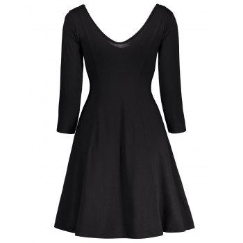 Plunging Neck Fitted A Line Dress - BLACK XL