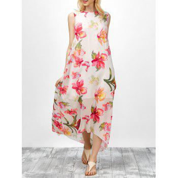 Floral Print Asymmetric Chiffon Dress