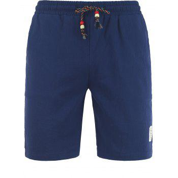 Graphic Patched Drawstring Casual Shorts