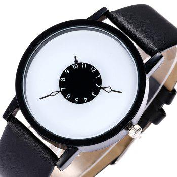 Number Analog Faux Leather Watch -  BLACK
