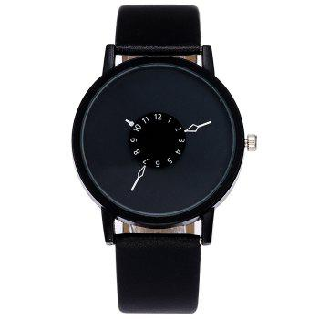 Number Analog Faux Leather Watch - BLACK BLACK