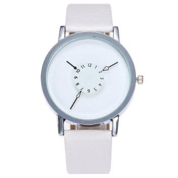 Number Analog Faux Leather Watch - WHITE WHITE