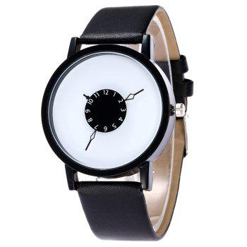 Number Analog Faux Leather Watch -  BLACK WHITE