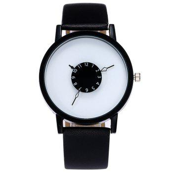 Number Analog Faux Leather Watch - BLACK WHITE BLACK WHITE