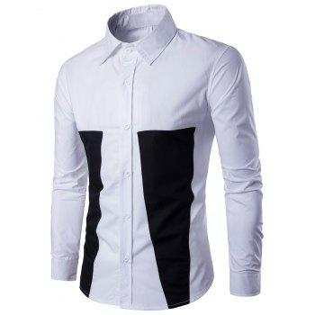 Two Tone Long Sleeve Buttoned Shirt