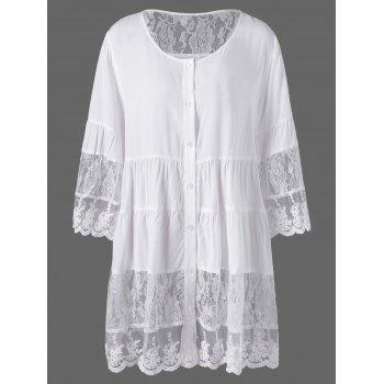 Plus Size Lace Insert Scalloped Button Up Blouse