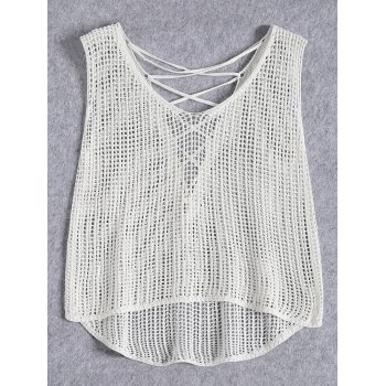Crochet Openwork Sleeveless Criss Cross Crop Top