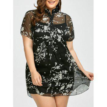 Plus Size Floral Sheer Chiffon Blouse With Cami Top