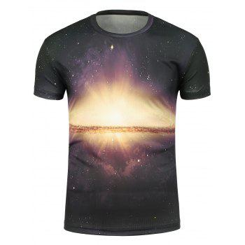 Galaxy Sunshine Print Crew Neck T-Shirt
