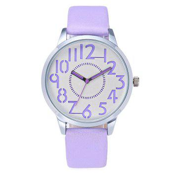 Analog Number Faux Leather Watch
