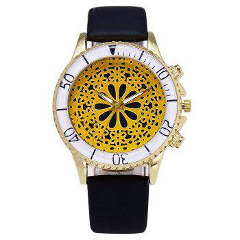 Faux Leather Strap Floral Watch